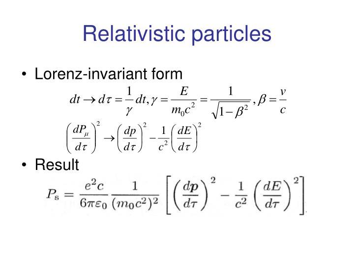 Relativistic particles