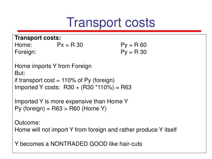 Transport costs