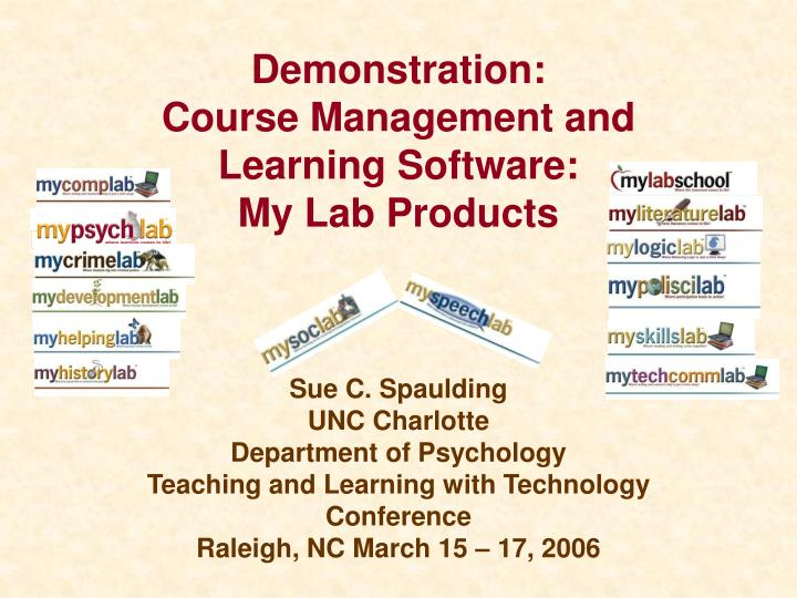 Demonstration course management and learning software my lab products