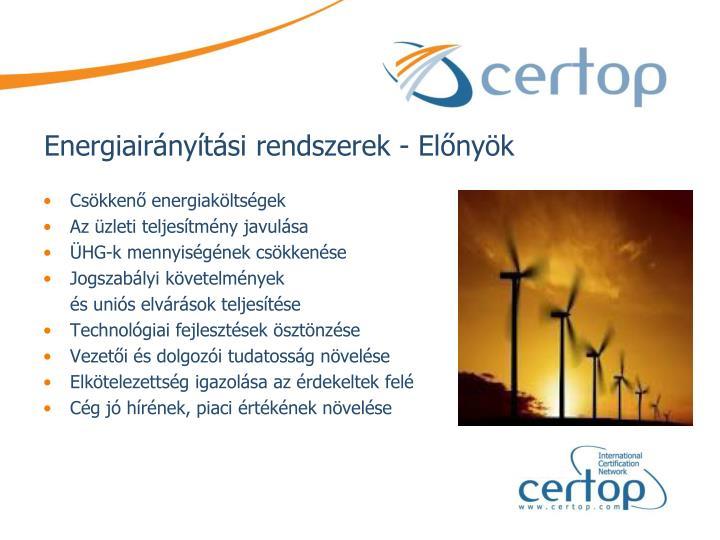 Energiairányítási rendszerek - Előnyök