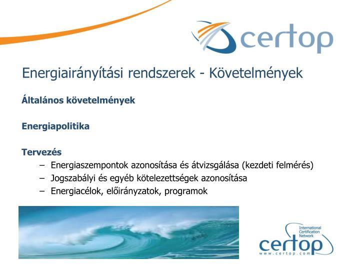 Energiairányítási rendszerek - Követelmények