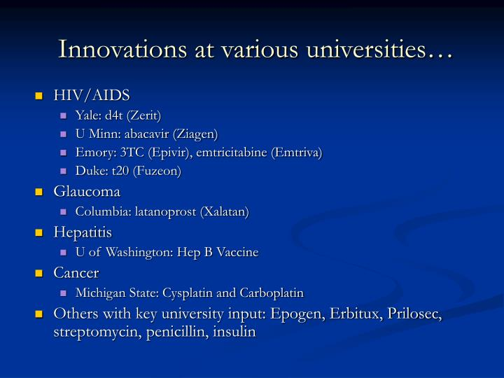 Innovations at various universities…