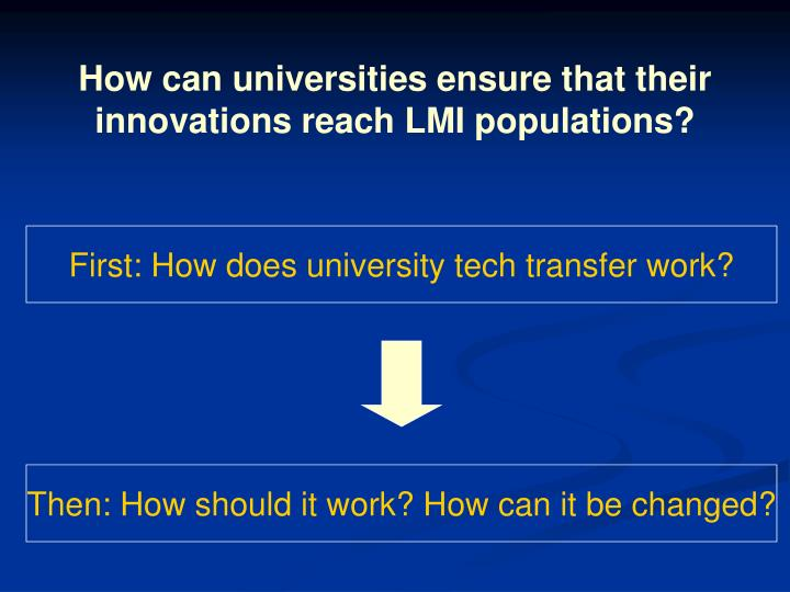 How can universities ensure that their innovations reach LMI populations?
