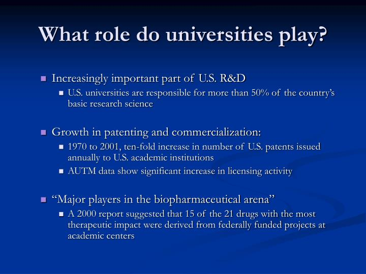 What role do universities play?