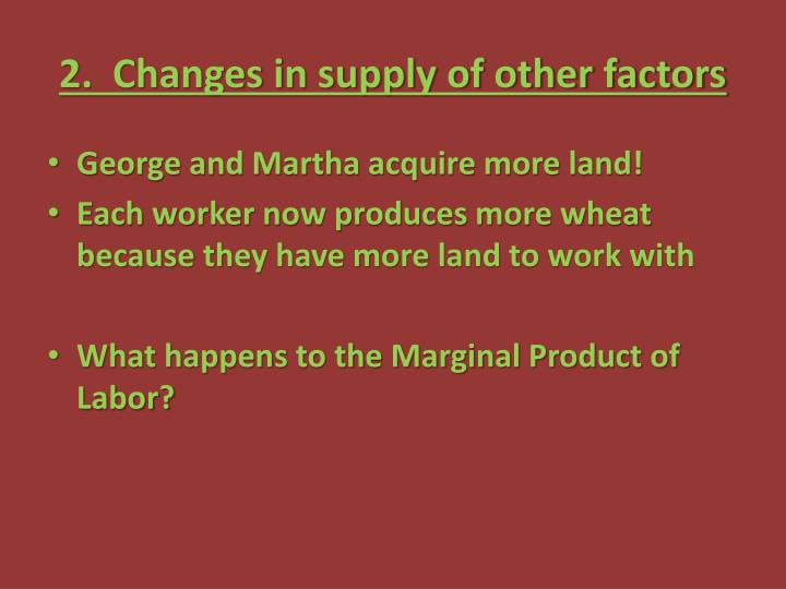 2.  Changes in supply of other factors