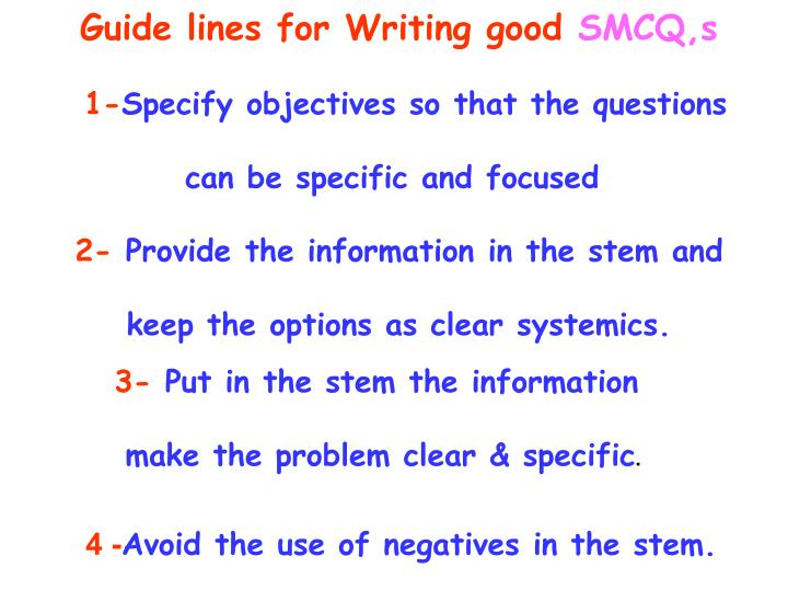 Guide lines for Writing good