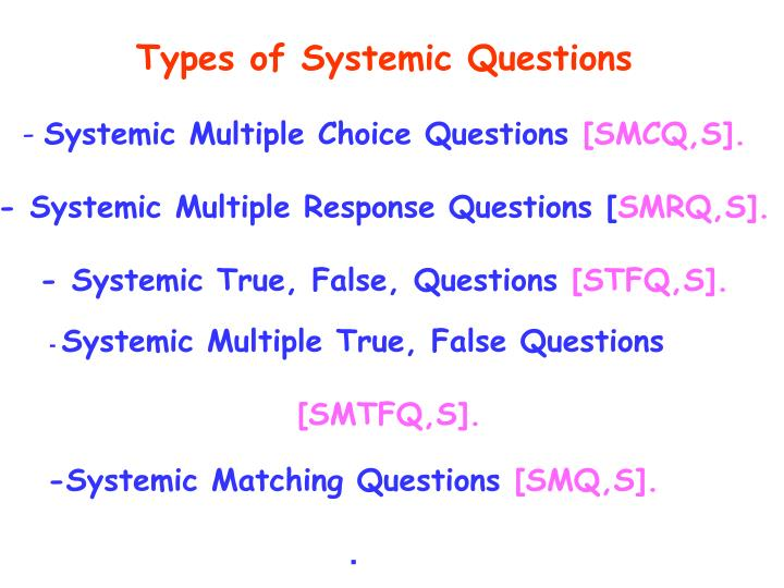 Types of Systemic Questions