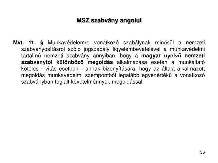 MSZ szabvány angolul