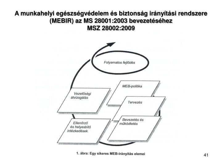 A munkahelyi egészségvédelem és biztonság irányítási rendszere (MEBIR) az MS 28001:2003 bevezetéséhez