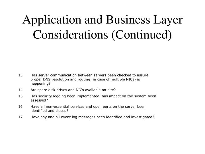Application and Business Layer Considerations (Continued)