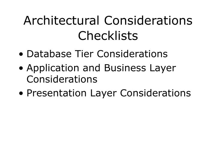 Architectural Considerations Checklists