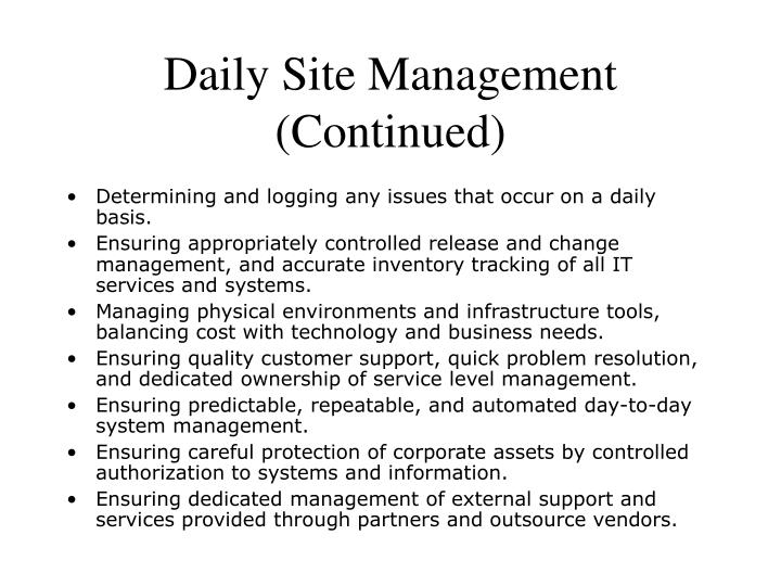 Daily Site Management (Continued)
