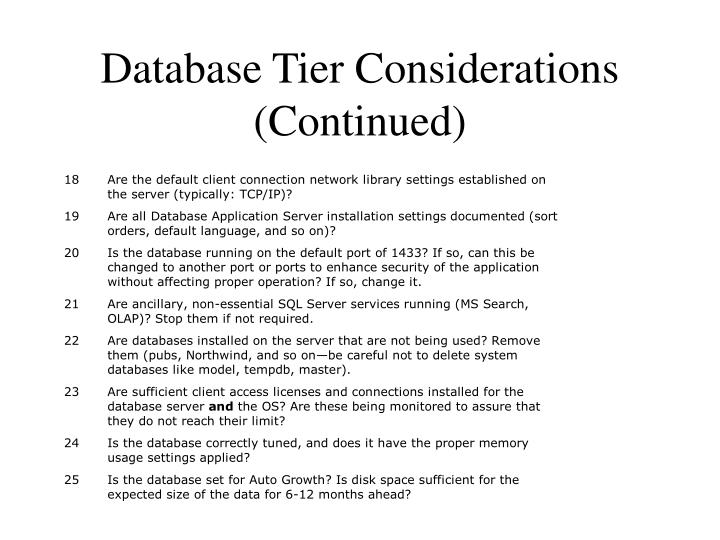 Database Tier Considerations (Continued)
