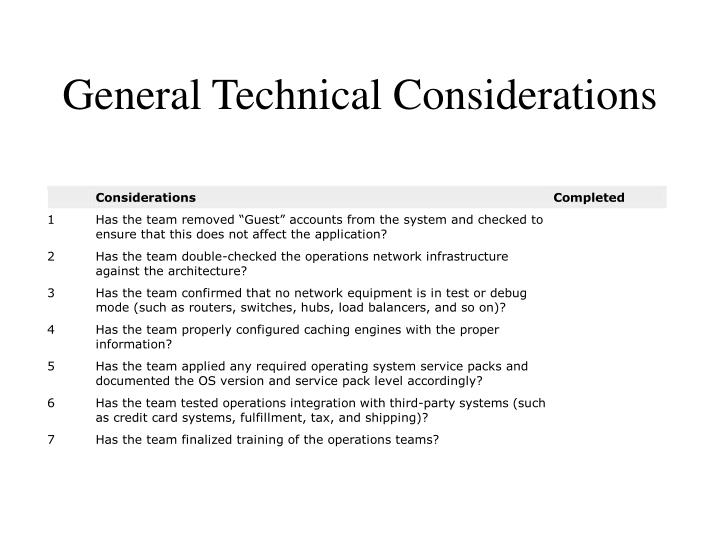 General Technical Considerations