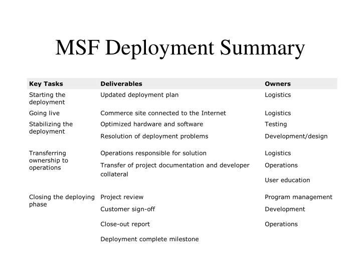 MSF Deployment Summary