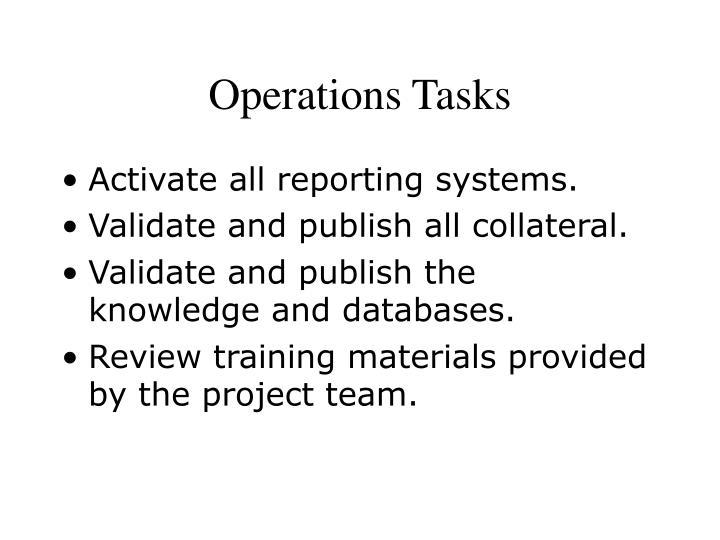 Operations Tasks