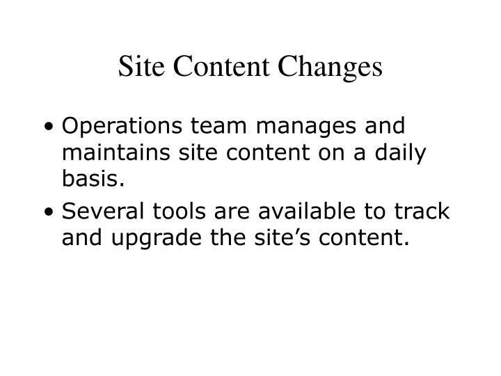 Site Content Changes