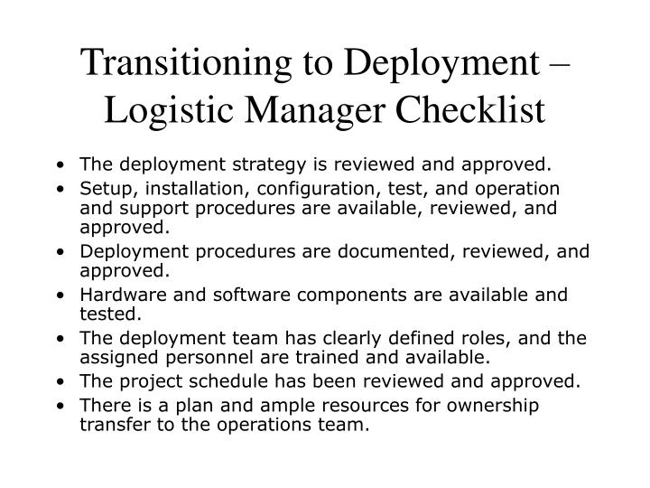 Transitioning to Deployment – Logistic Manager Checklist