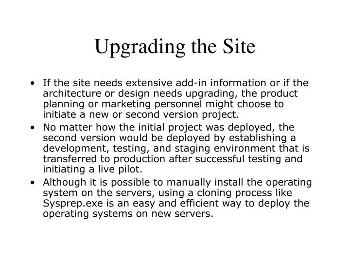 Upgrading the Site