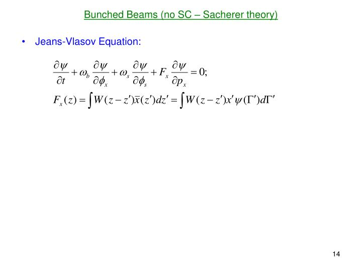 Bunched Beams (no SC – Sacherer theory)