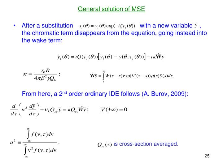 General solution of MSE