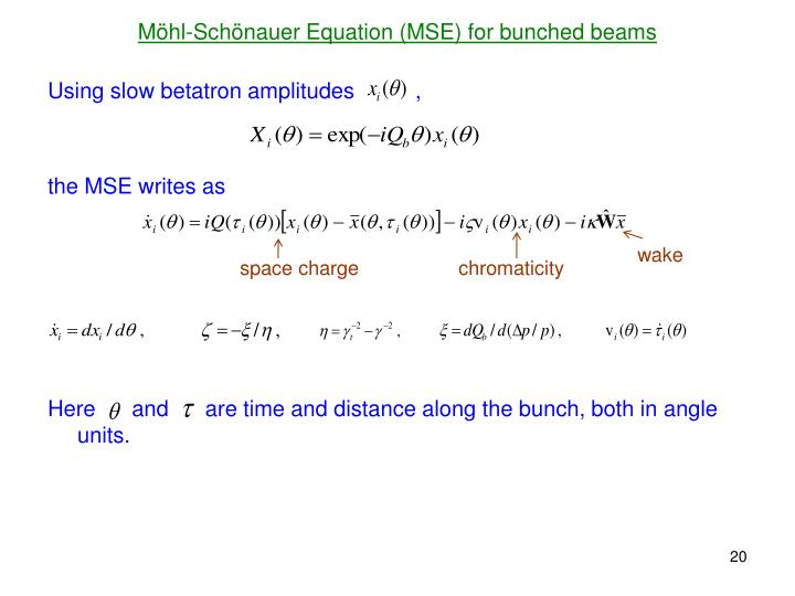 Möhl-Schönauer Equation (MSE) for bunched beams