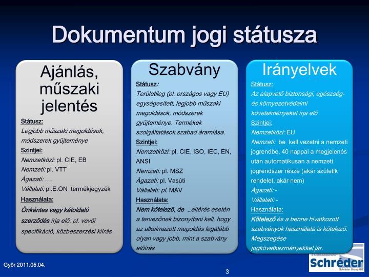 Dokumentum jogi státusza