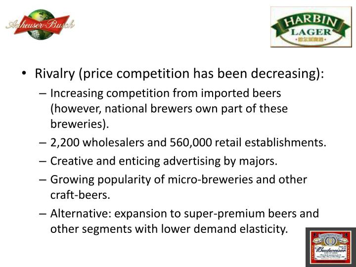 Rivalry (price competition has been decreasing):