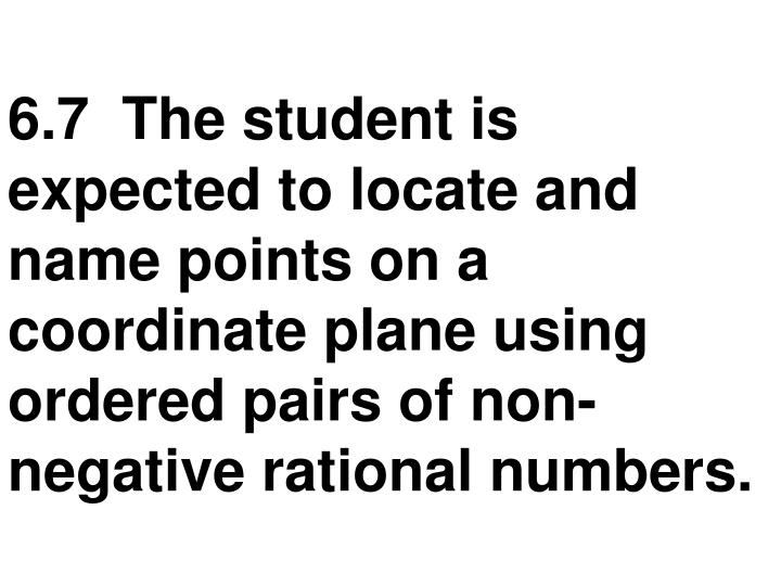 6.7  The student is expected to locate and name points on a coordinate plane using ordered pairs of non-negative rational numbers.