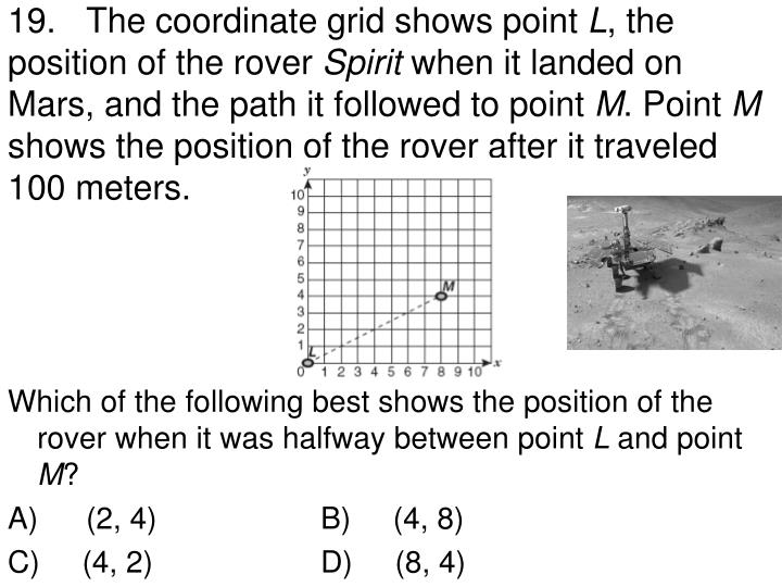 19.	The coordinate grid shows point