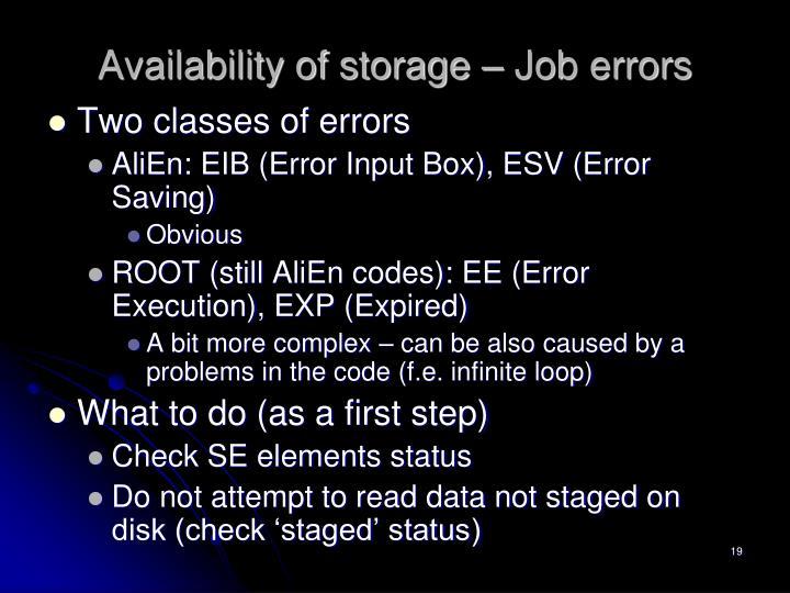 Availability of storage – Job errors