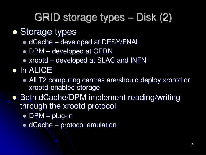 GRID storage types – Disk (2)