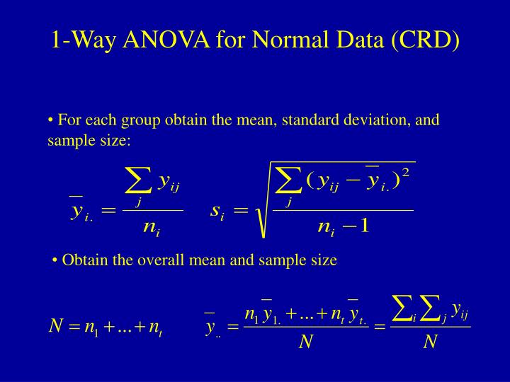 1-Way ANOVA for Normal Data (CRD)
