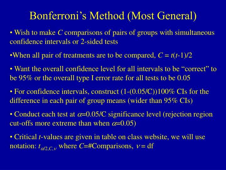 Bonferroni's Method (Most General)