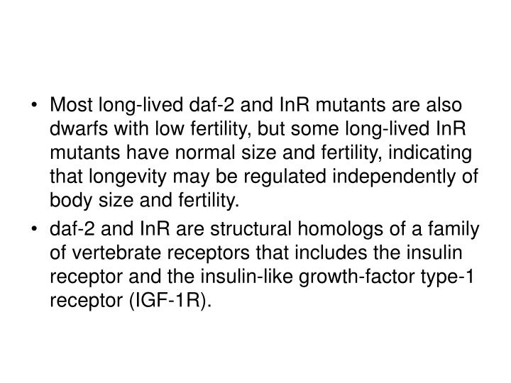 Most long-lived daf-2 and InR mutants are also dwarfs with low fertility, but some long-lived InR mutants have normal size and fertility, indicating that longevity may be regulated independently of body size and fertility.