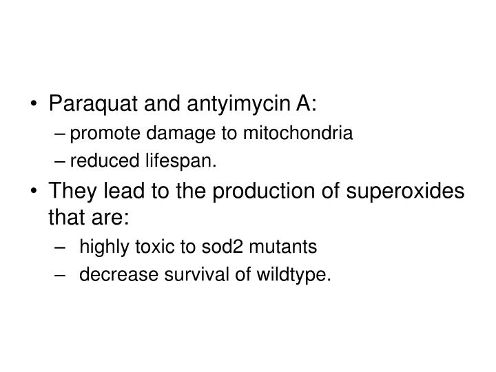 Paraquat and antyimycin A: