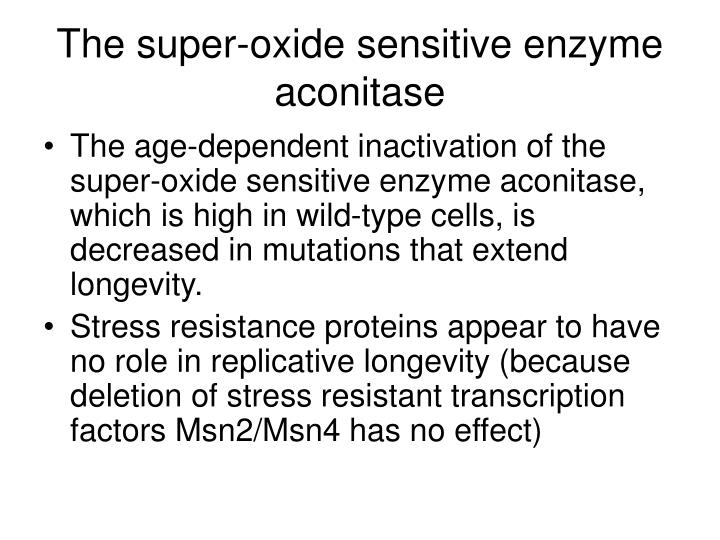 The super-oxide sensitive enzyme aconitase