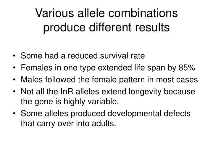 Various allele combinations produce different results