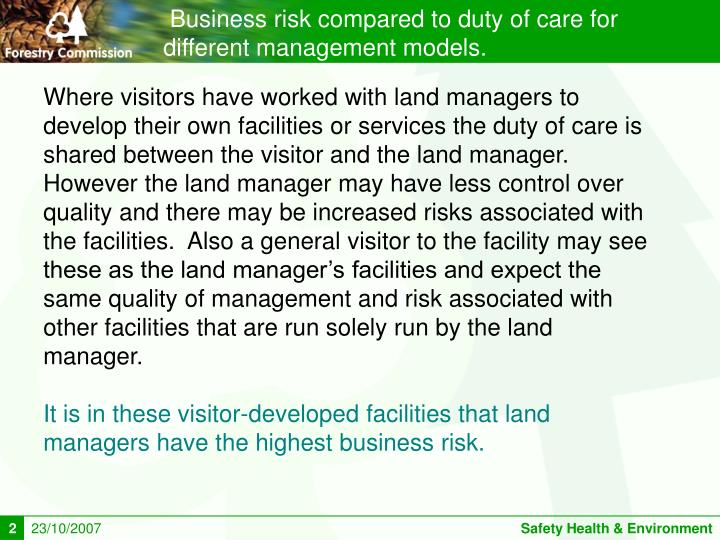 Business risk compared to duty of care for different management models.