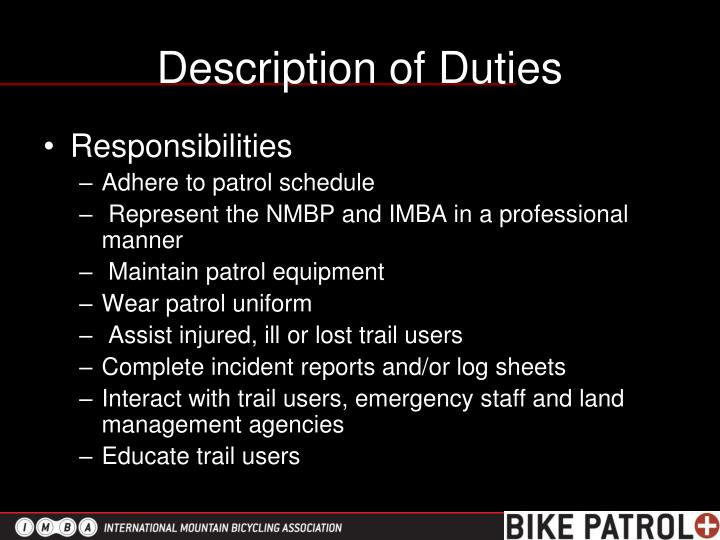 Description of Duties