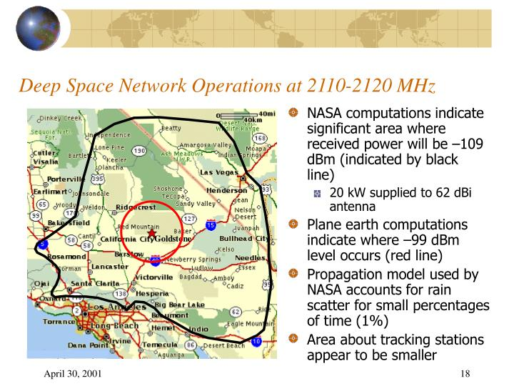 Deep Space Network Operations at 2110-2120 MHz