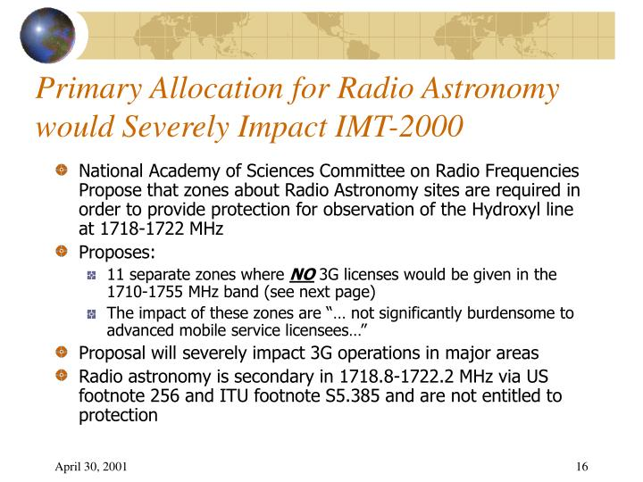 Primary Allocation for Radio Astronomy would Severely Impact IMT-2000