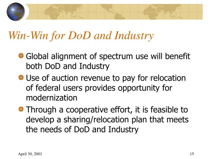 Win-Win for DoD and Industry