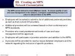 iii creating an mpn network customization