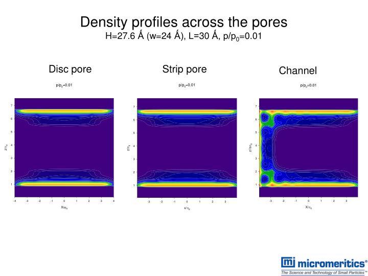 Density profiles across the pores