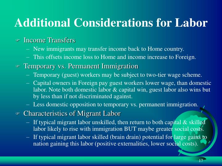 Additional Considerations for Labor