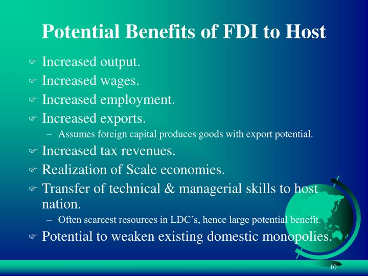 Potential Benefits of FDI to Host