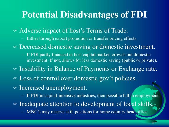 Potential Disadvantages of FDI