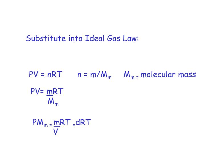 Substitute into Ideal Gas Law: