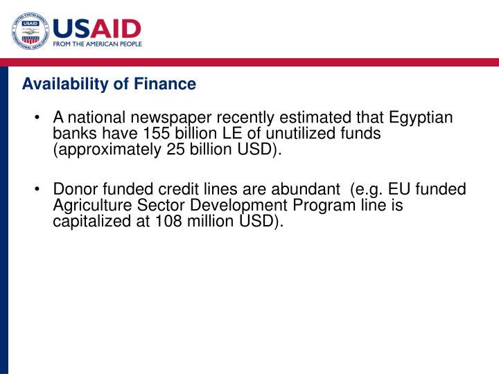 Availability of Finance